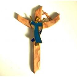 Crucifix en olivier et christ couleur