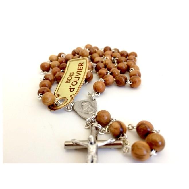 Cadeau de communion garcon - Chapelet bois marron