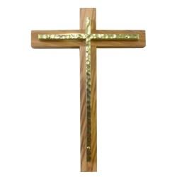 Croix en olivier et dorée
