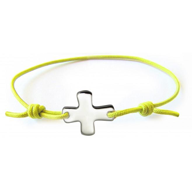 Bracelet élastique jaune avec croix