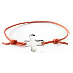 Bracelet élastique orange fluo avec croix