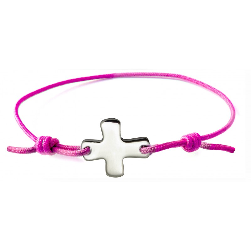 bracelet lastique rose fluo avec croix comptoir religieux. Black Bedroom Furniture Sets. Home Design Ideas
