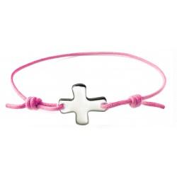 Bracelet élastique rose fluo avec croix