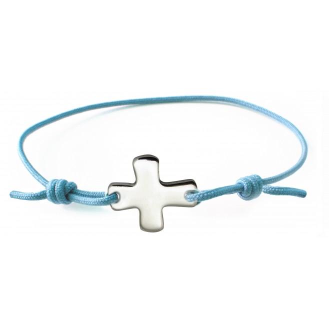 Bracelet élastique rose avec croix
