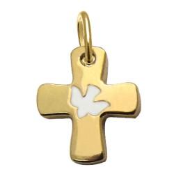 Croix de cou dorée colombe blanche, bleue ou rouge