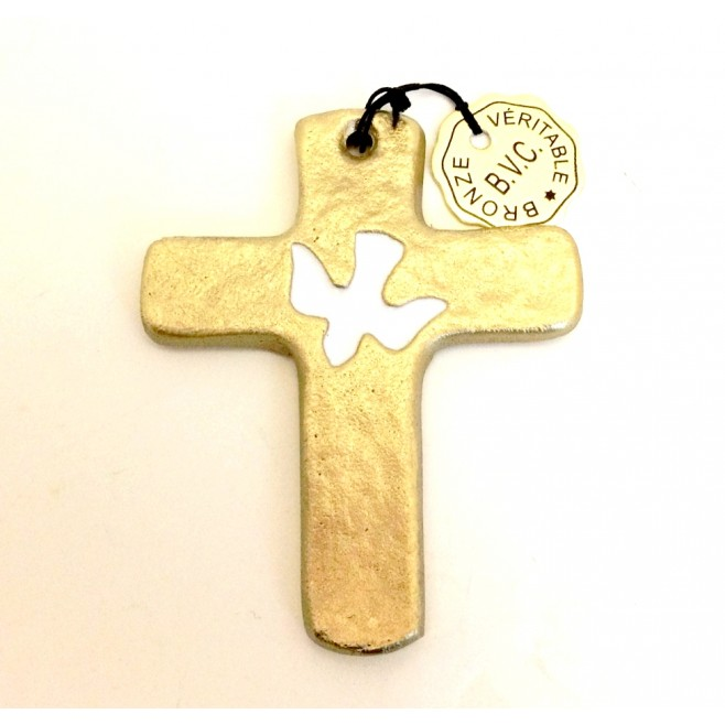 Crucifix en bronze colombe - 8.5cm