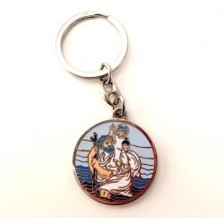 Porte-clés St Christophe émaillé bleu