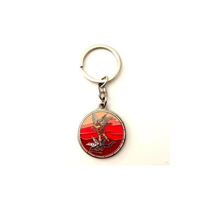 Porte-clés St Michel émaillé rouge