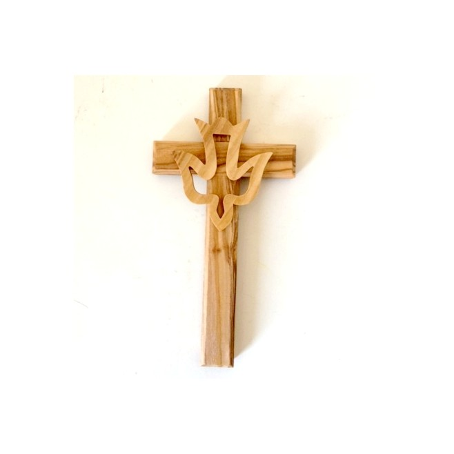 Croix en chêne et dorée