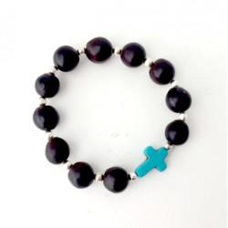 Bracelet en perles naturelles noires de Pacun avec croix bleue