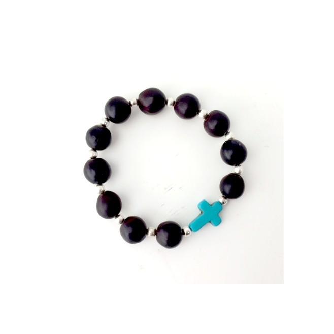 Bracelet en perles naturelles noires de Pacun avec croix argentée