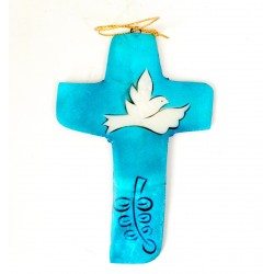 Croix en nacre bleue turquoise avec Colombe
