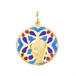 Médaille Or et émail Vierge sur vitrail de Brou bleu et rouge