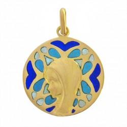 Médaille Or et émail Vierge de Brou sur vitrail bleu et rouge