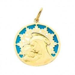 Médaille Or et émail Vierge de Brou sur vitrail bleu
