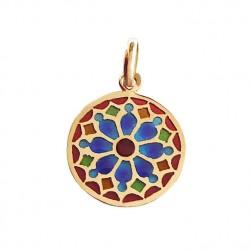Médaille Or et émail Vitrail Notre Dame Paris Ouest Bleu