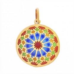 Médaille Or et émail Vitrail Chartres bleu