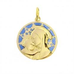 Grande Médaille Or et émail Vierge Botticelli sur vitrail Chartres bleu et blanc