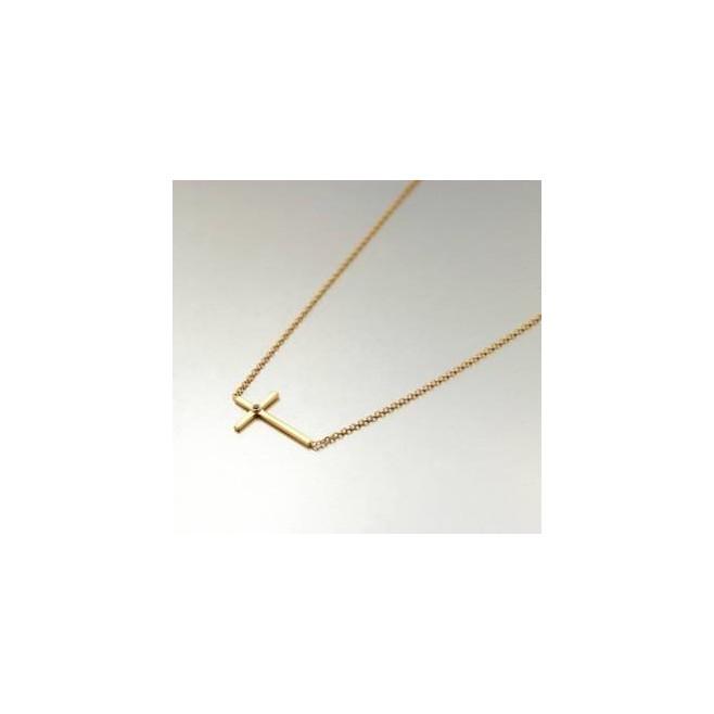 Chaine de cou avec croix plaqué or