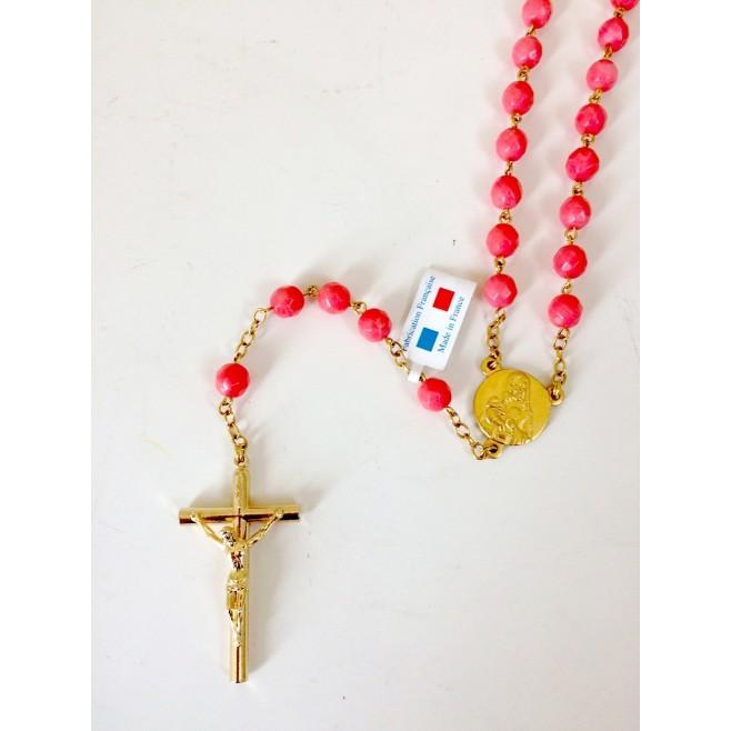 Chapelet Bijoux religieux en corail rose
