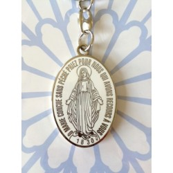 Porte-clés Vierge Miraculeuse émaillée bleu