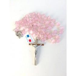 Chapelet de communion - oeil de chat rose