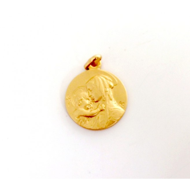 """Médaille de baptême """"Vierge à l'enfant"""" en Plaqué Or"""