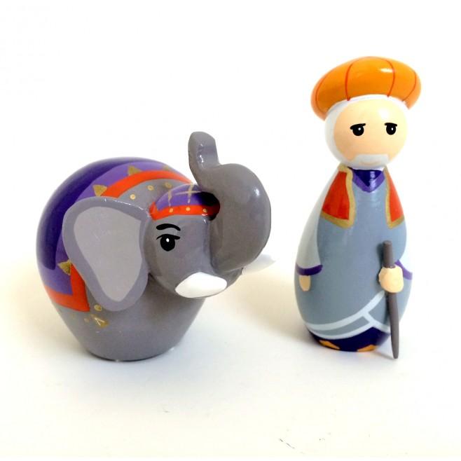 Cornac et éléphant - Crèche de Noël en bois tourné