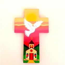 Croix Colombe et église rose