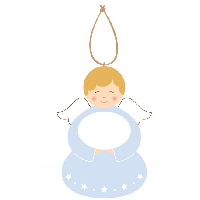Cadeau de Baptême Ange à personnaliser Bleu 2