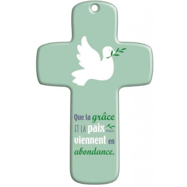 Cadeau de confirmation : Croix bois Moderne Colombe