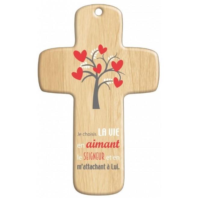 Cadeau religieux : Croix bois Moderne Vie