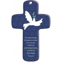 Cadeau de Communion : Croix bois Moderne Paix