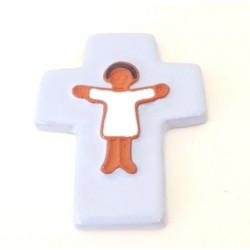 Croix enfant céramique gris bleu