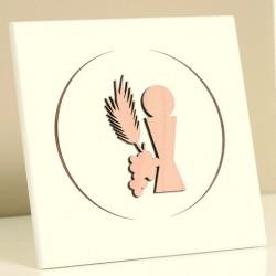 Cadre bois laqué blanc - Communion