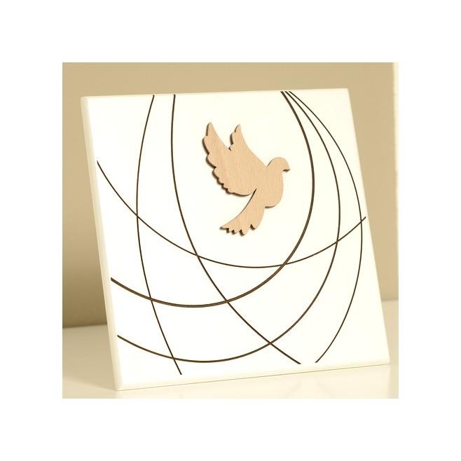 Cadre bois laqué blanc - Saint Esprit