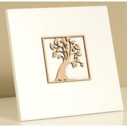 Cadre bois laqué blanc - Arbre de vie