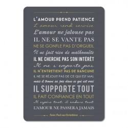"""Carte déco """"L'amour prend patience"""" - noir 15X21"""