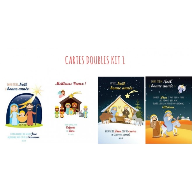 4 CARTES DOUBLES NOEL - KIT 1
