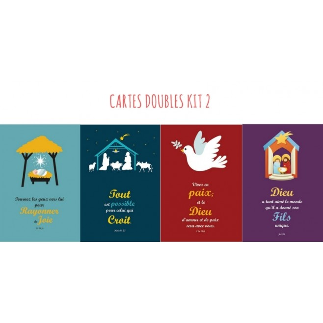 4 cartes doubles Noel - kit 2