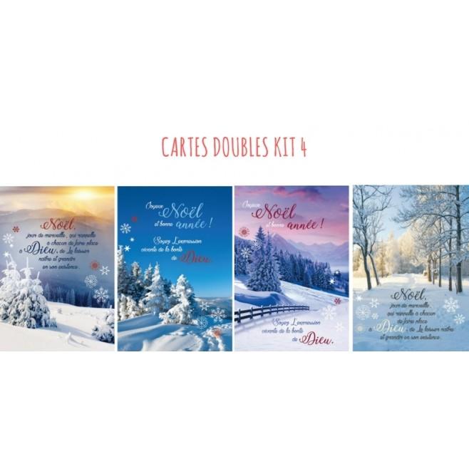 4 cartes doubles Noel - kit 4