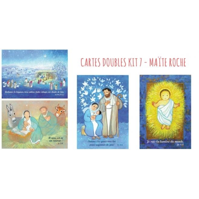 4 cartes doubles Noel Maite Roche - Kit 7