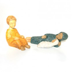 Crèche Moniale de Bethleem - Nativité 3 santons couleur
