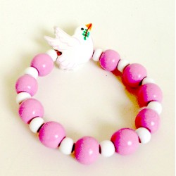 Bracelet enfant colombe rose