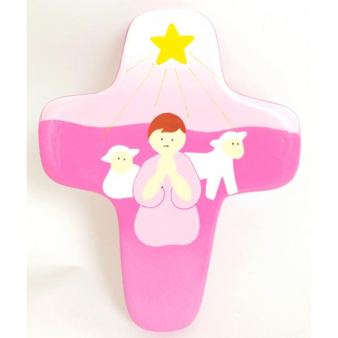 Croix rose en bois enfant - Berger et ses moutons
