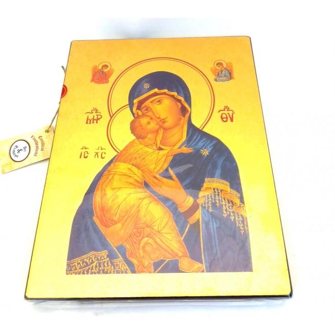 Icone Religieuse OR - 18x23 Notre Dame de tendresse de Vladimir