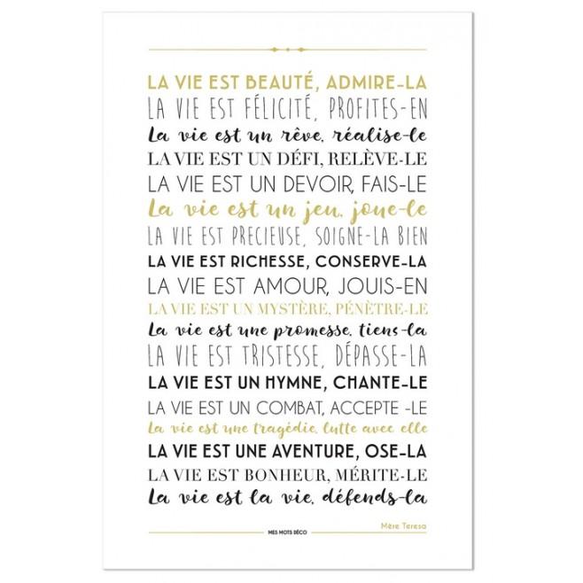 Pancarte déco blanche La vie est beauté