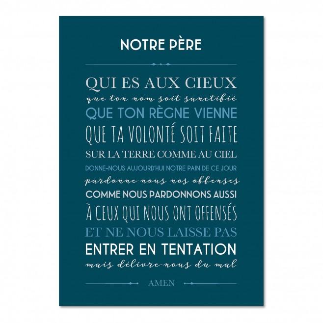 """Carte déco """"Notre Père"""" - Bleu ciel 15X21"""