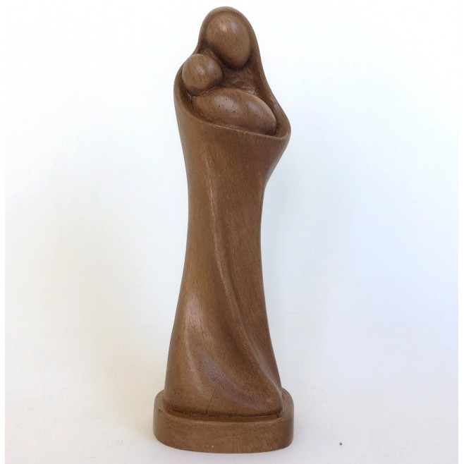 Statue Vierge mère en résine ton bois