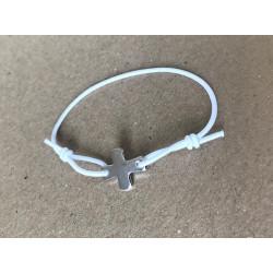 Bracelet élastique blanc avec croix